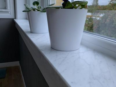 Carrara Marmor Fönsterbänk Vit